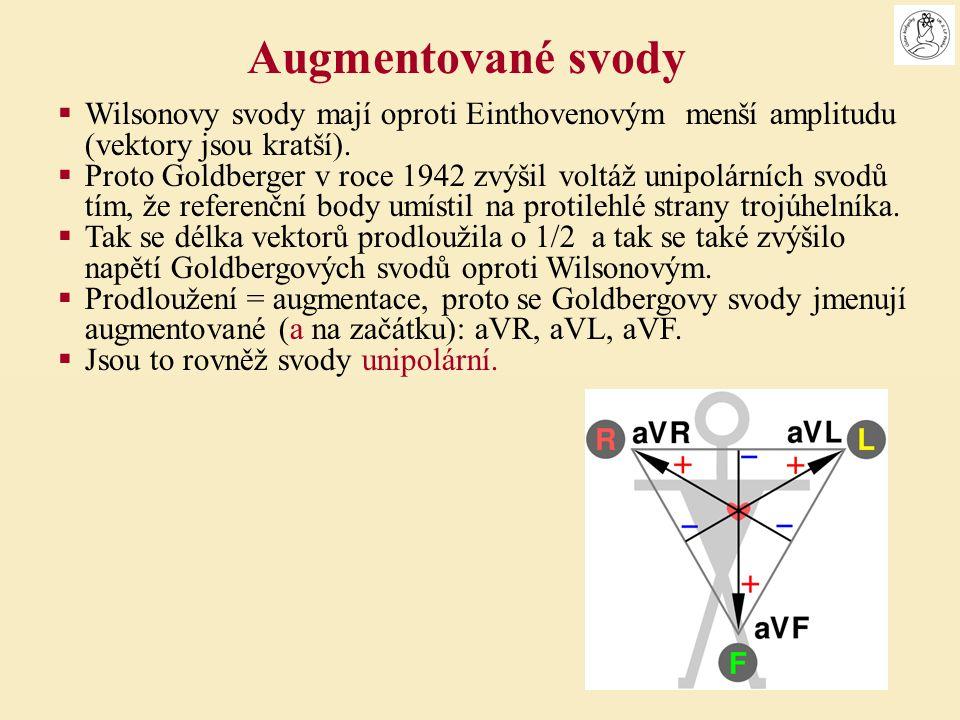 Augmentované svody Wilsonovy svody mají oproti Einthovenovým menší amplitudu (vektory jsou kratší).