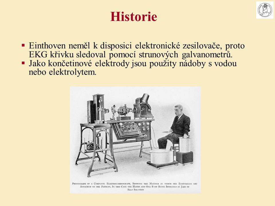 Historie Einthoven neměl k disposici elektronické zesilovače, proto EKG křivku sledoval pomocí strunových galvanometrů.