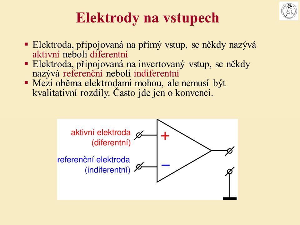Elektrody na vstupech Elektroda, připojovaná na přímý vstup, se někdy nazývá aktivní neboli diferentní.