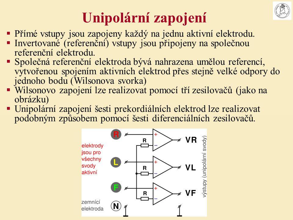 Unipolární zapojení Přímé vstupy jsou zapojeny každý na jednu aktivní elektrodu.