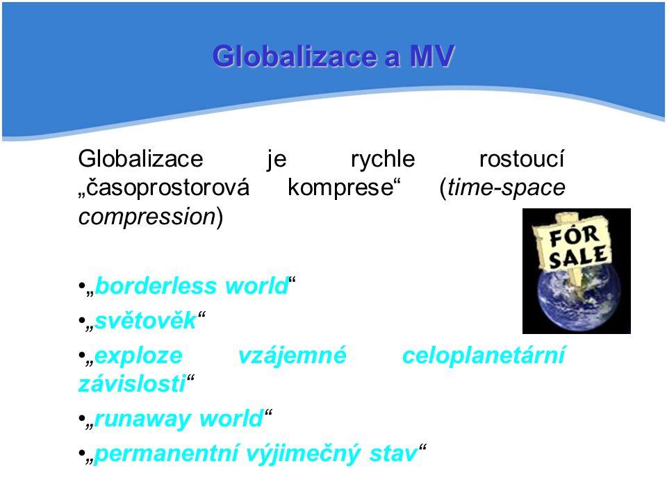 """Globalizace a MV Globalizace je rychle rostoucí """"časoprostorová komprese (time-space compression) """"borderless world"""