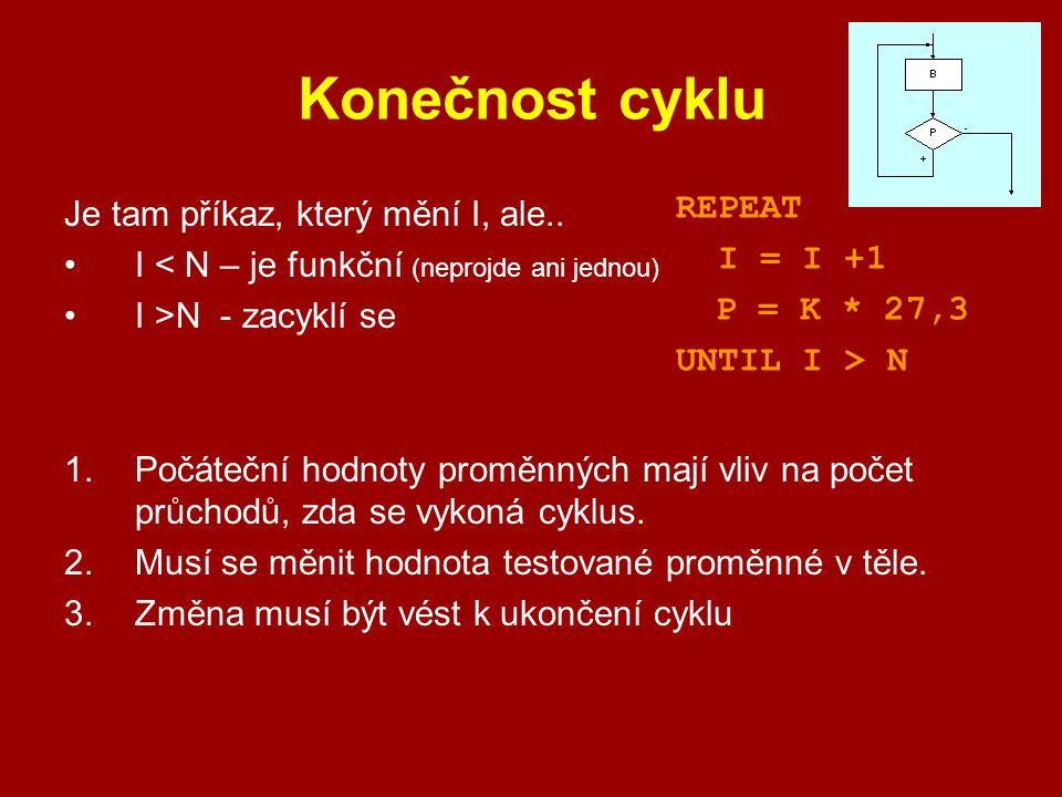 Konečnost cyklu REPEAT Je tam příkaz, který mění I, ale.. I = I +1