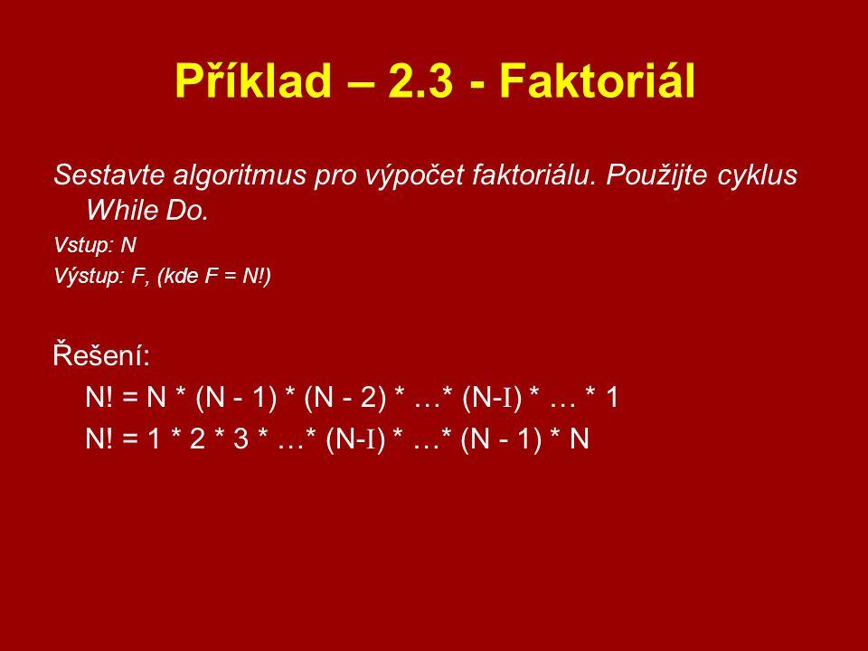 Příklad – 2.3 - Faktoriál Sestavte algoritmus pro výpočet faktoriálu. Použijte cyklus While Do. Vstup: N.
