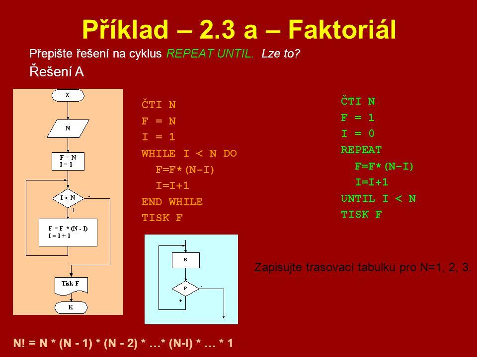 Příklad – 2.3 a – Faktoriál Řešení A