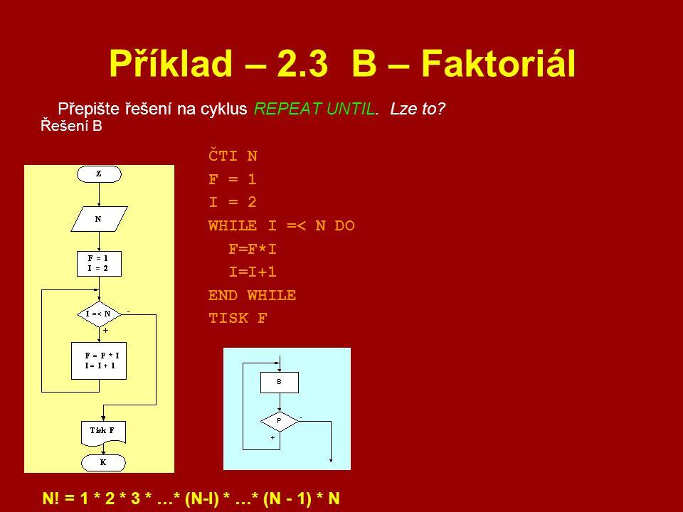 Příklad – 2.3 B – Faktoriál Přepište řešení na cyklus REPEAT UNTIL. Lze to Řešení B. ČTI N. F = 1.