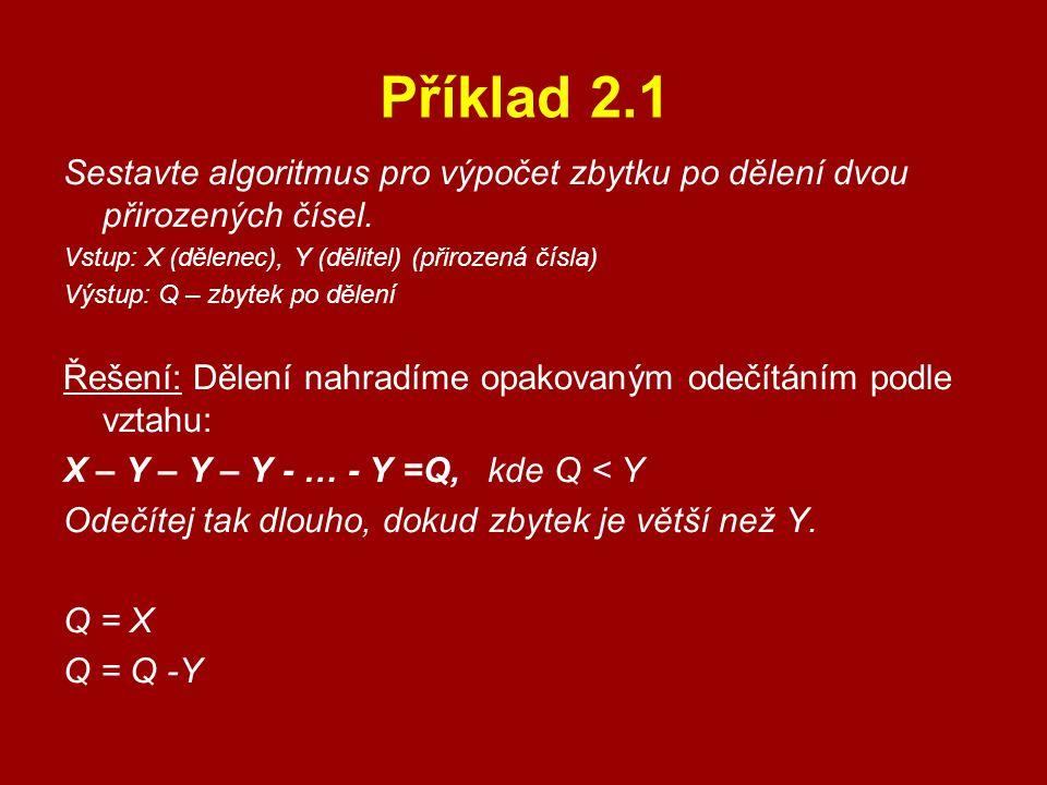 Příklad 2.1 Sestavte algoritmus pro výpočet zbytku po dělení dvou přirozených čísel. Vstup: X (dělenec), Y (dělitel) (přirozená čísla)