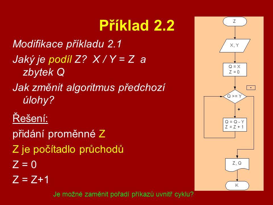 Příklad 2.2 Modifikace příkladu 2.1