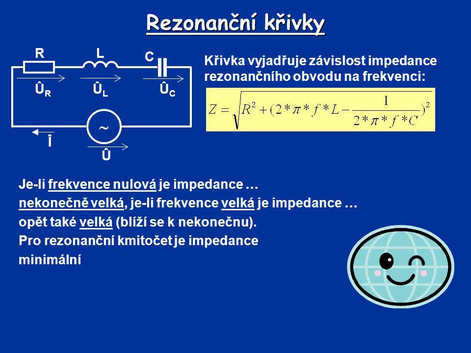 Rezonanční křivky  Û Î R C L ÛL ÛR ÛC
