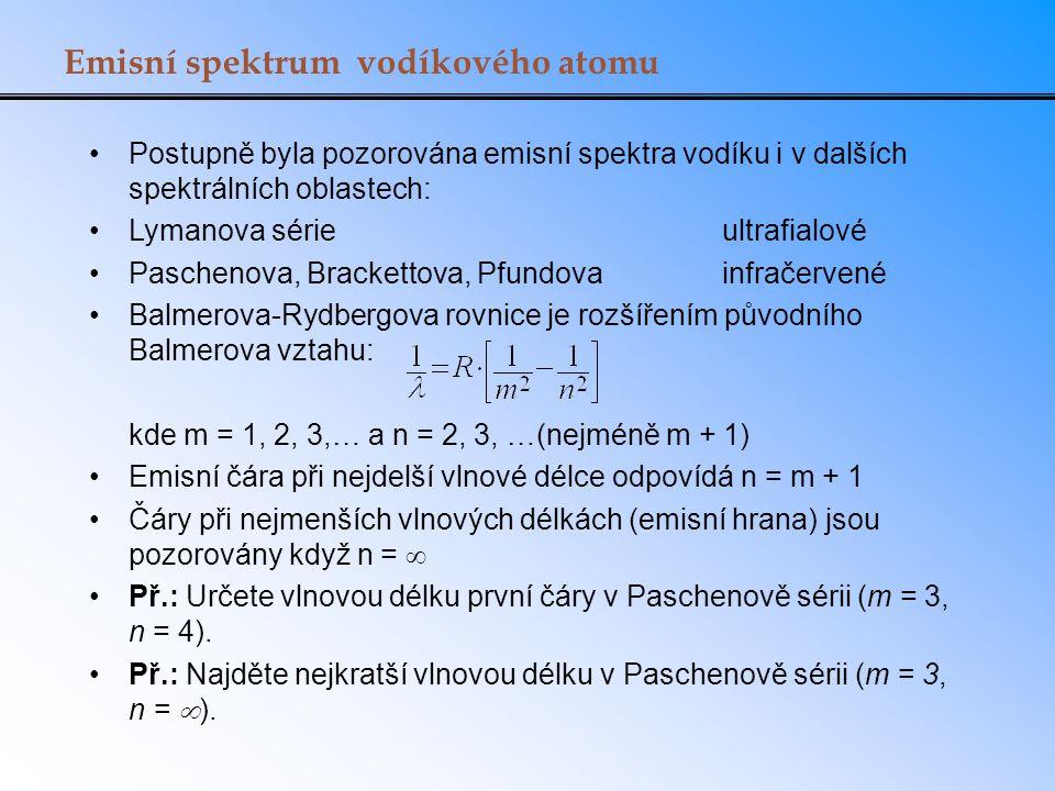 Emisní spektrum vodíkového atomu