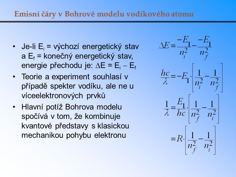 Emisní čáry v Bohrově modelu vodíkového atomu