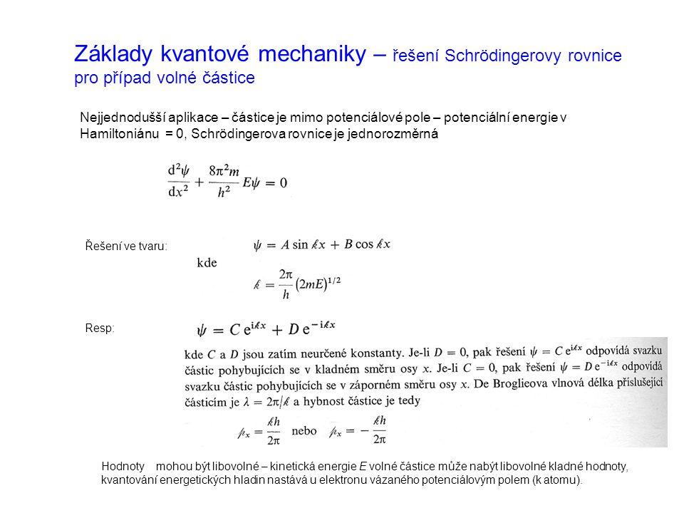 Základy kvantové mechaniky – řešení Schrödingerovy rovnice pro případ volné částice