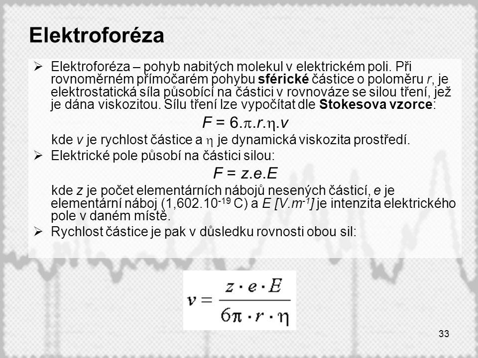 Elektroforéza F = 6.p.r.h.v F = z.e.E