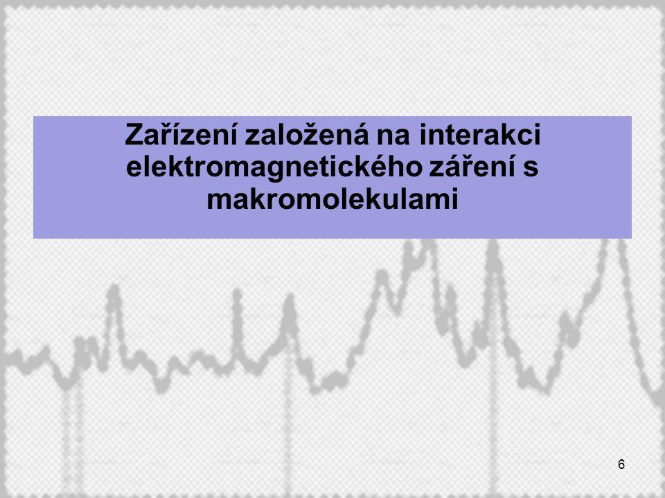 Zařízení založená na interakci elektromagnetického záření s makromolekulami