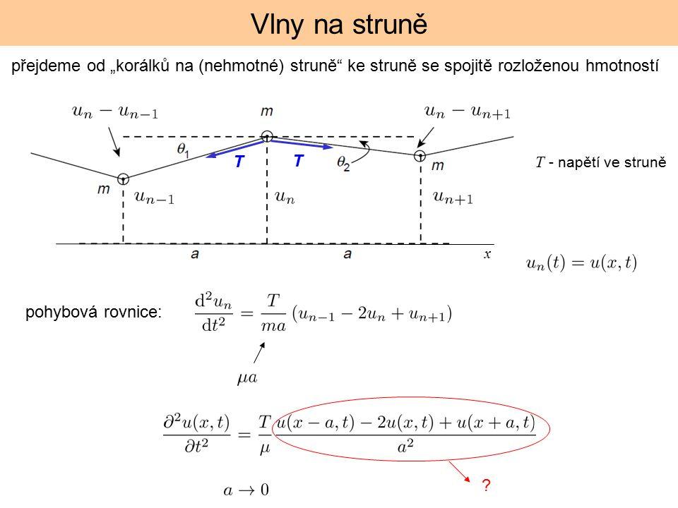 """Vlny na struně přejdeme od """"korálků na (nehmotné) struně ke struně se spojitě rozloženou hmotností."""