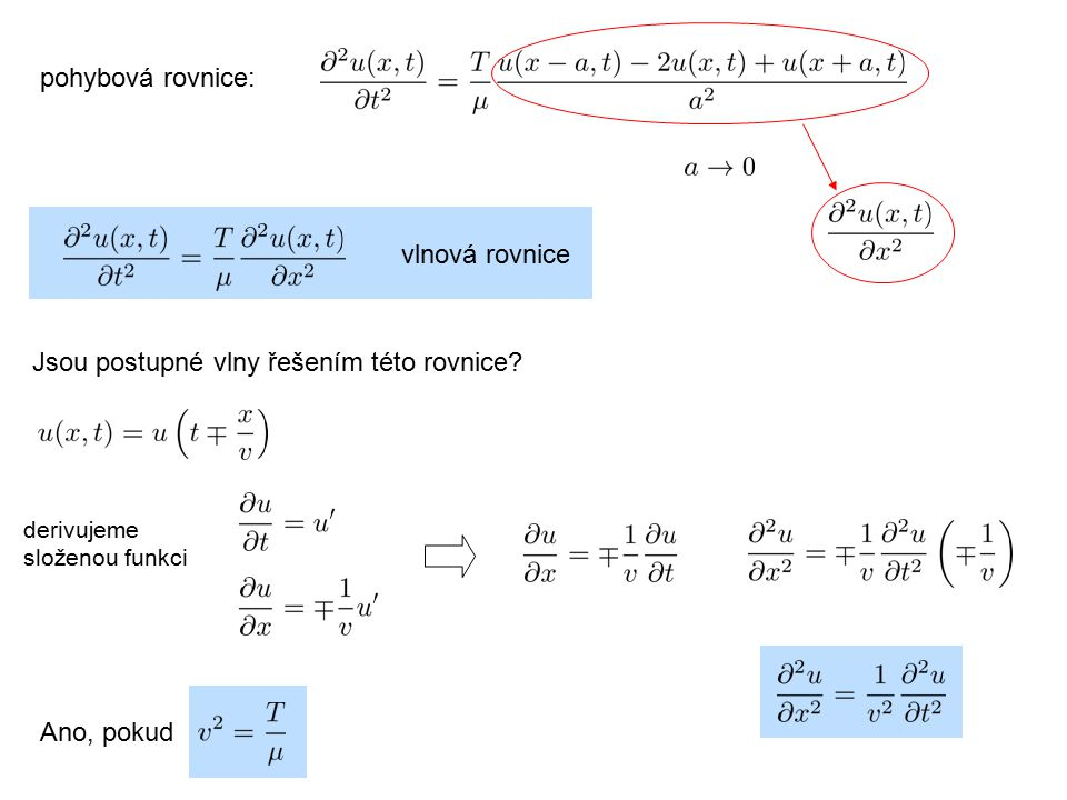 Jsou postupné vlny řešením této rovnice