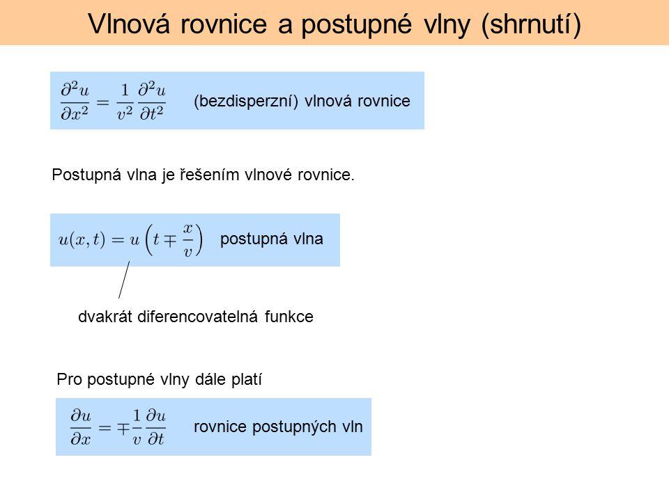 Vlnová rovnice a postupné vlny (shrnutí)