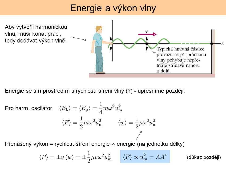 Energie a výkon vlny Aby vytvořil harmonickou vlnu, musí konat práci, tedy dodávat výkon vlně.