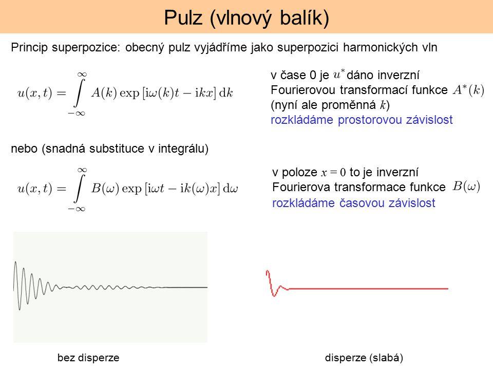 Pulz (vlnový balík) Princip superpozice: obecný pulz vyjádříme jako superpozici harmonických vln.