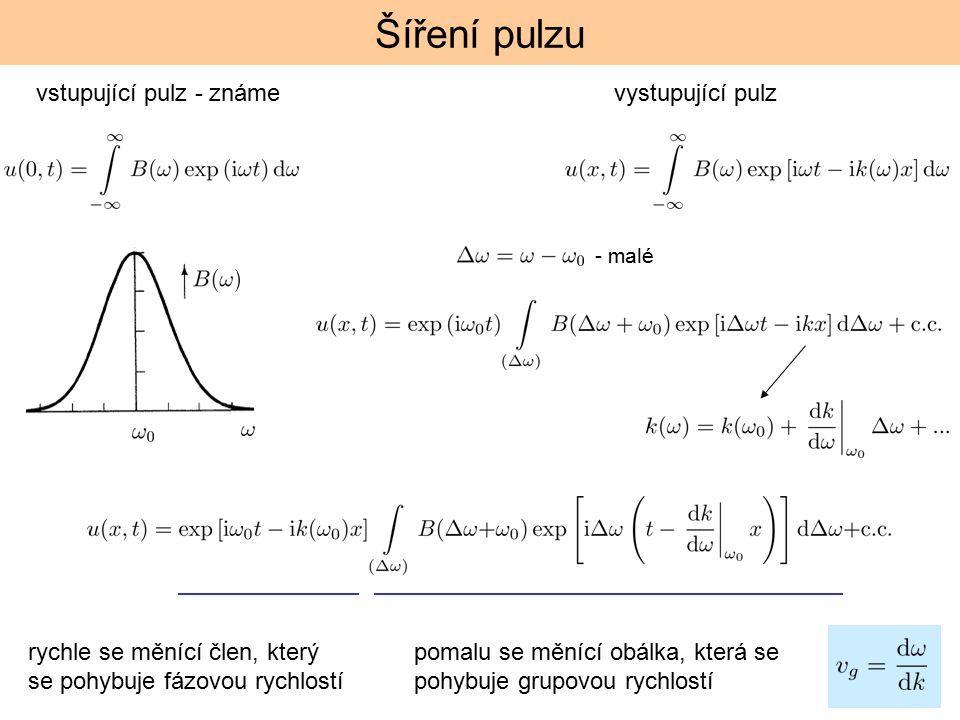 Šíření pulzu vstupující pulz - známe vystupující pulz