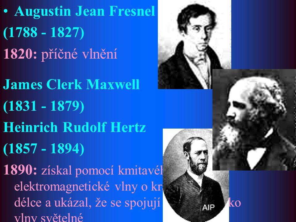 Augustin Jean Fresnel (1788 - 1827) 1820: příčné vlnění. James Clerk Maxwell. (1831 - 1879) Heinrich Rudolf Hertz.