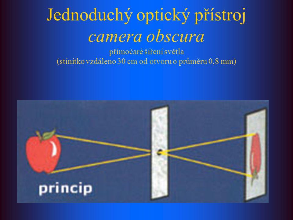 Jednoduchý optický přístroj camera obscura přímočaré šíření světla (stínítko vzdáleno 30 cm od otvoru o průměru 0,8 mm)