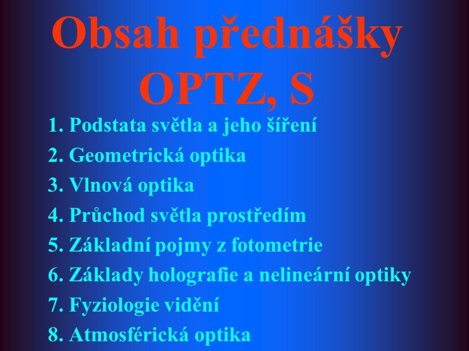 Obsah přednášky OPTZ, S 1. Podstata světla a jeho šíření