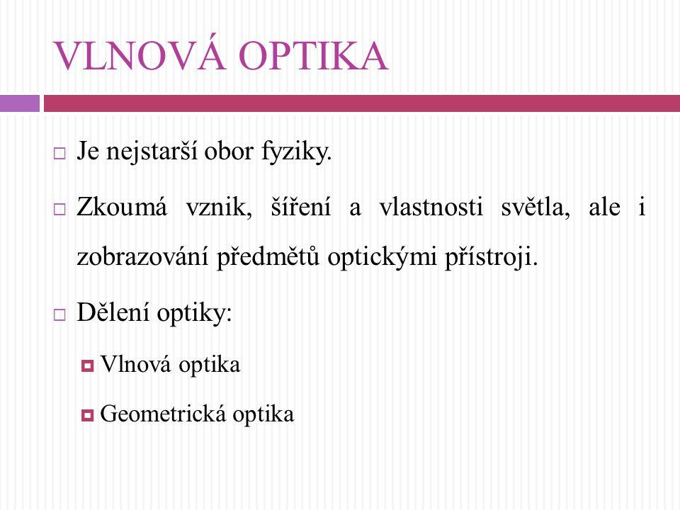 VLNOVÁ OPTIKA Je nejstarší obor fyziky.