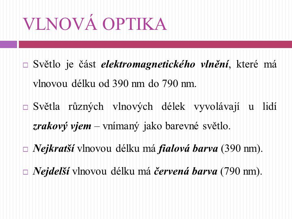 VLNOVÁ OPTIKA Světlo je část elektromagnetického vlnění, které má vlnovou délku od 390 nm do 790 nm.