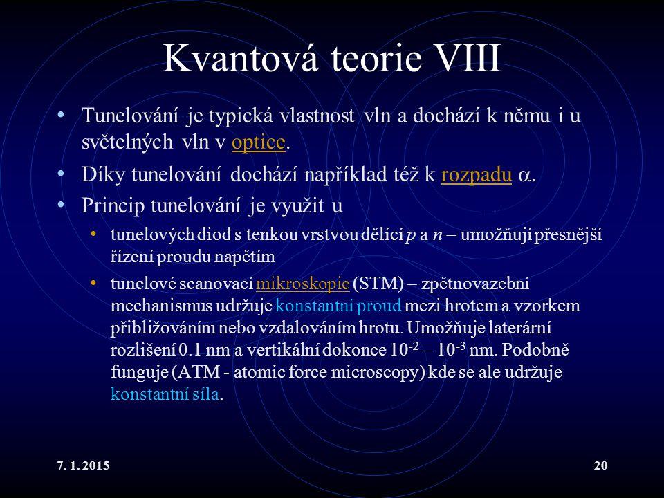 Kvantová teorie VIII Tunelování je typická vlastnost vln a dochází k němu i u světelných vln v optice.