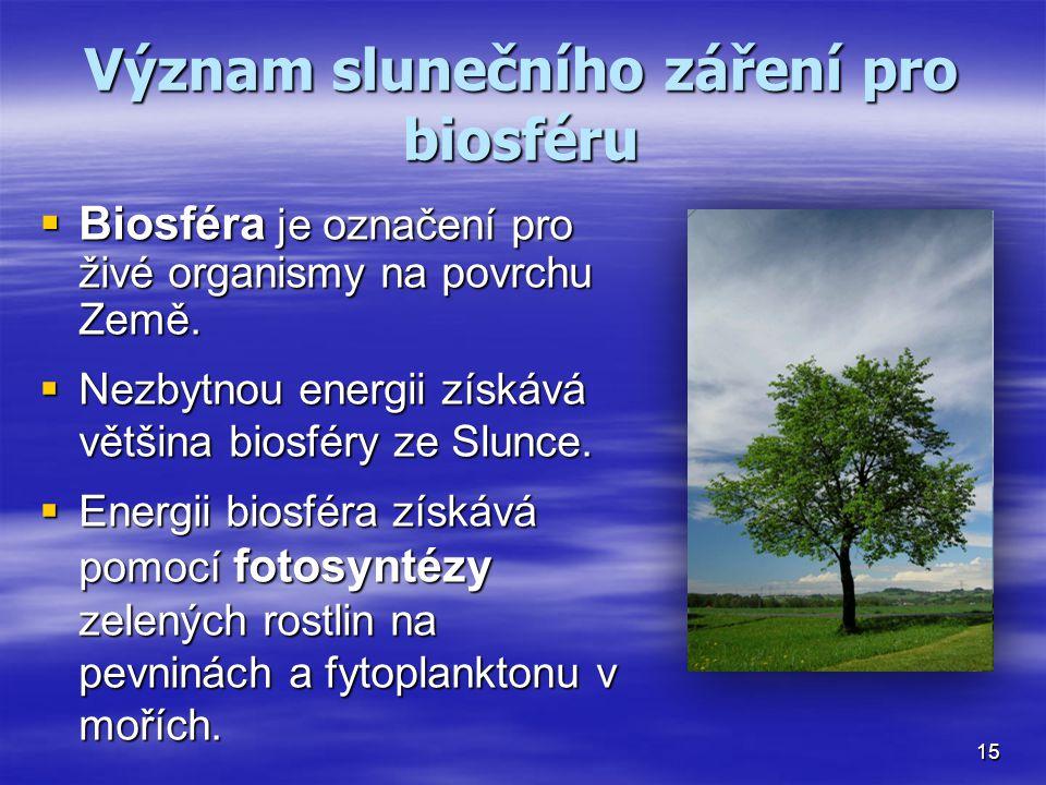 Význam slunečního záření pro biosféru