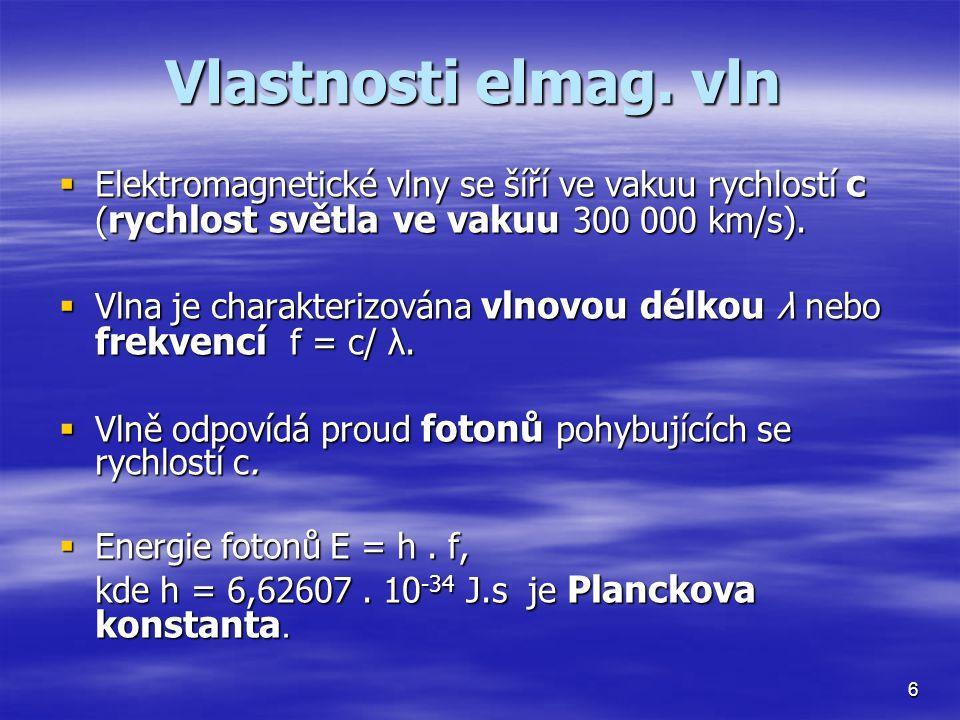 Vlastnosti elmag. vln Elektromagnetické vlny se šíří ve vakuu rychlostí c (rychlost světla ve vakuu 300 000 km/s).