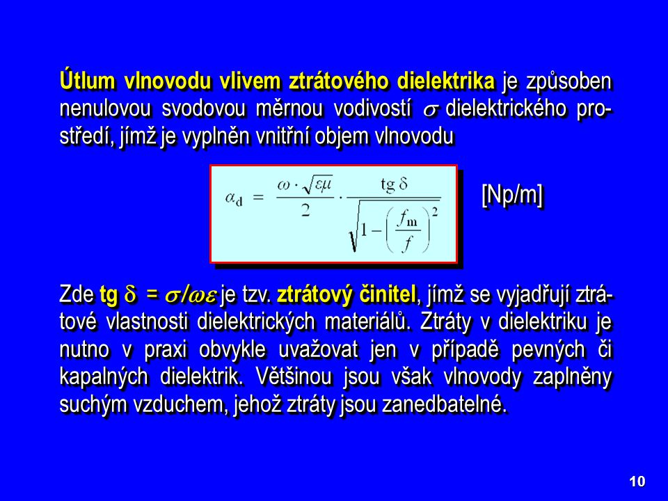 Útlum vlnovodu vlivem ztrátového dielektrika je způsoben nenulovou svodovou měrnou vodivostí  dielektrického pro-středí, jímž je vyplněn vnitřní objem vlnovodu