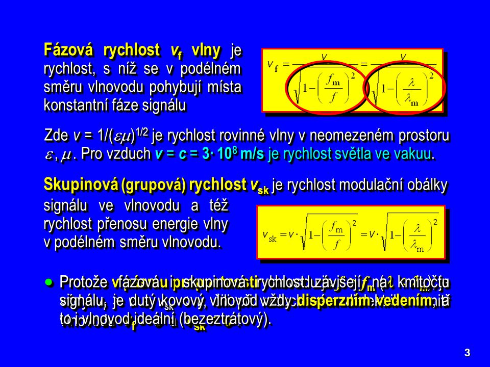 Skupinová (grupová) rychlost vsk je rychlost modulační obálky