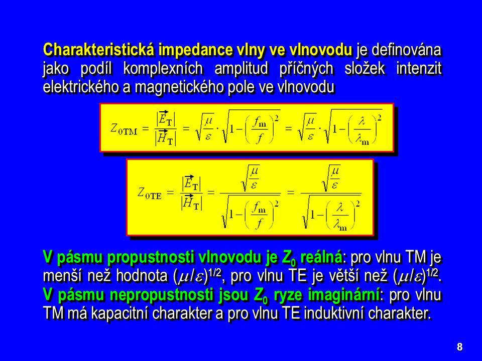 Charakteristická impedance vlny ve vlnovodu je definována jako podíl komplexních amplitud příčných složek intenzit elektrického a magnetického pole ve vlnovodu