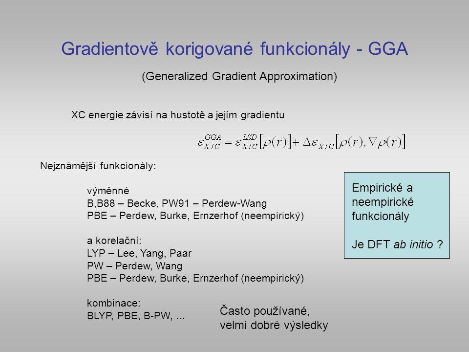 Gradientově korigované funkcionály - GGA