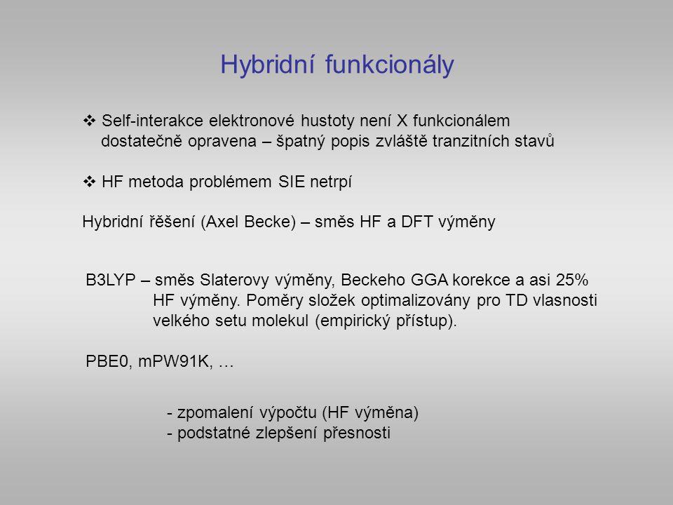 Hybridní funkcionály Self-interakce elektronové hustoty není X funkcionálem. dostatečně opravena – špatný popis zvláště tranzitních stavů.