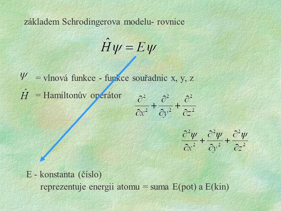 základem Schrodingerova modelu- rovnice = vlnová funkce - funkce souřadnic x, y, z = Hamiltonův operátor