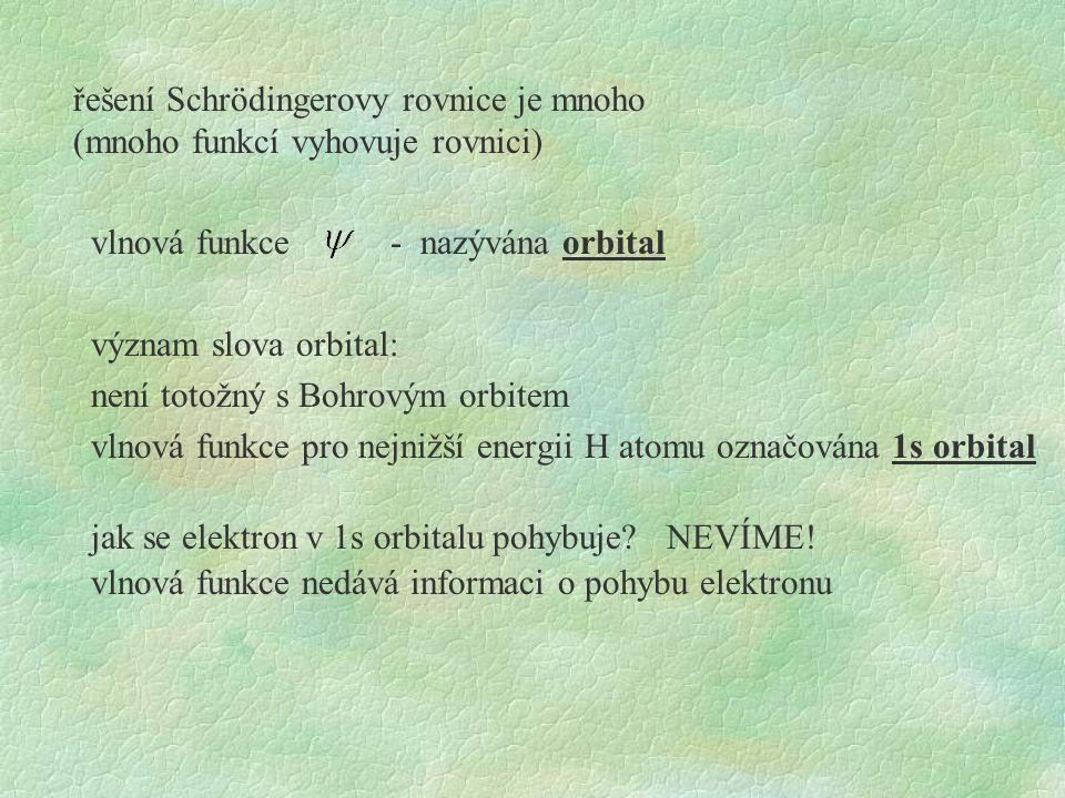 řešení Schrödingerovy rovnice je mnoho