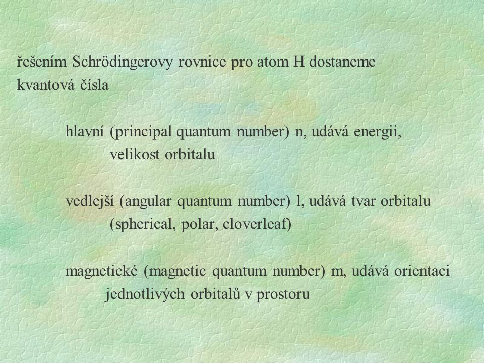 řešením Schrödingerovy rovnice pro atom H dostaneme kvantová čísla hlavní (principal quantum number) n, udává energii, velikost orbitalu vedlejší (angular quantum number) l, udává tvar orbitalu (spherical, polar, cloverleaf) magnetické (magnetic quantum number) m, udává orientaci jednotlivých orbitalů v prostoru