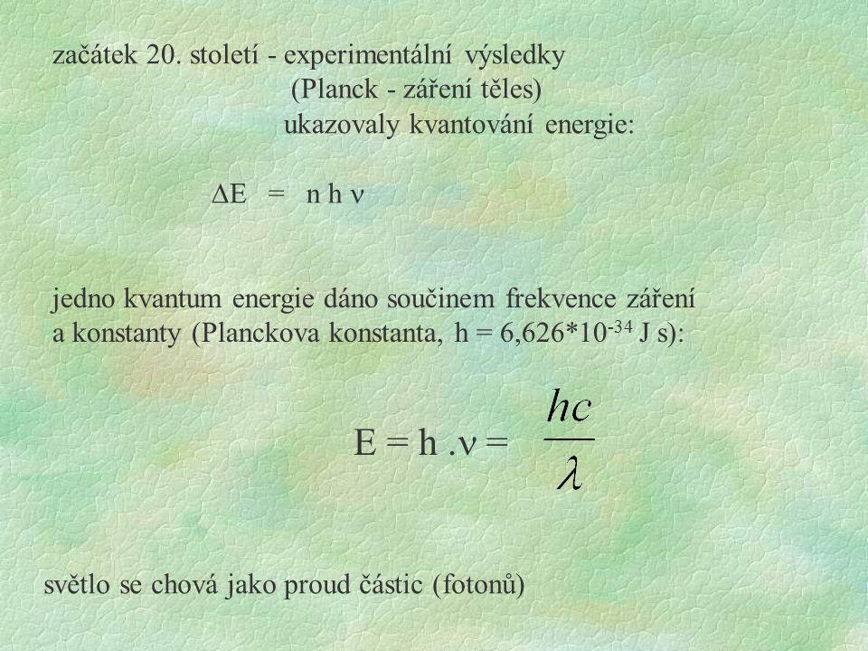 E = h .n = začátek 20. století - experimentální výsledky