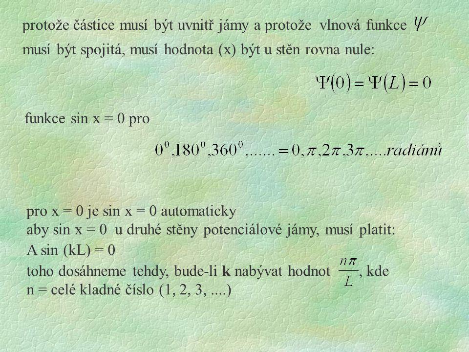 protože částice musí být uvnitř jámy a protože vlnová funkce musí být spojitá, musí hodnota (x) být u stěn rovna nule: