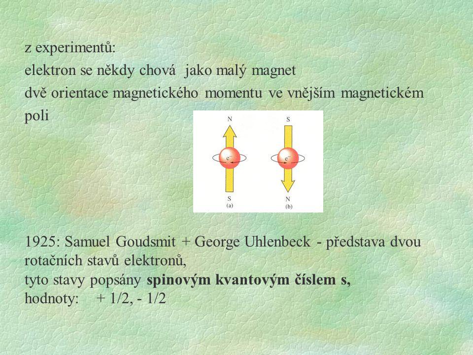 z experimentů: elektron se někdy chová jako malý magnet dvě orientace magnetického momentu ve vnějším magnetickém poli