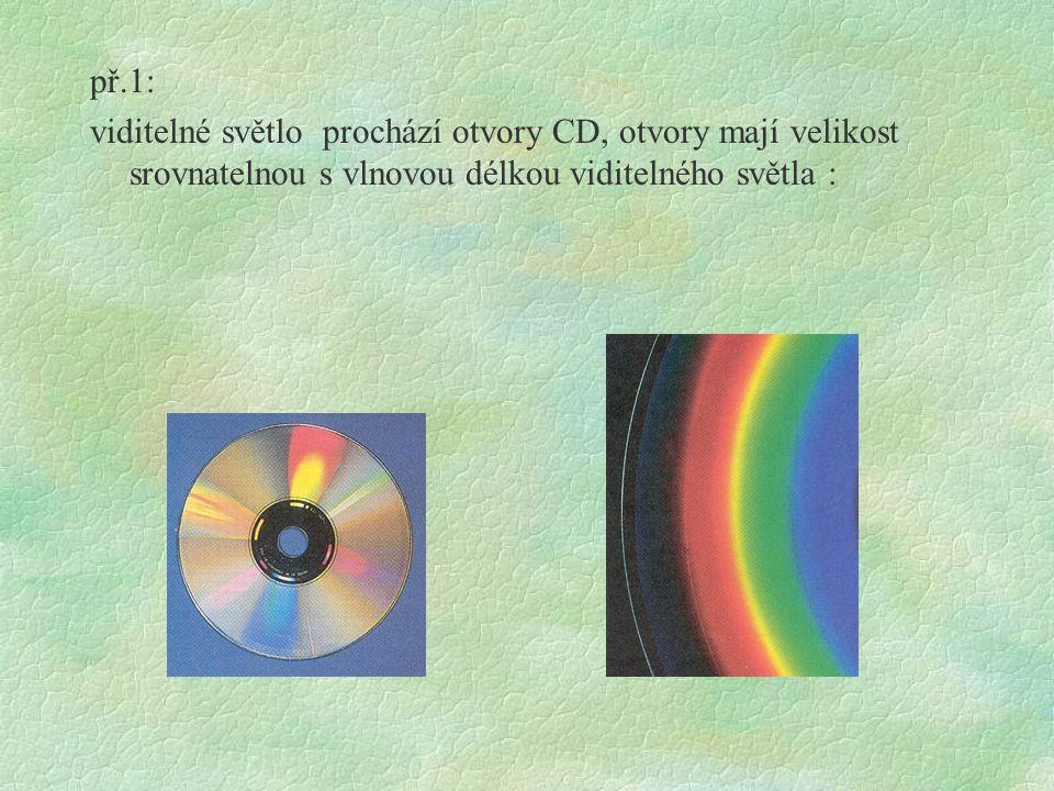př.1: viditelné světlo prochází otvory CD, otvory mají velikost srovnatelnou s vlnovou délkou viditelného světla :
