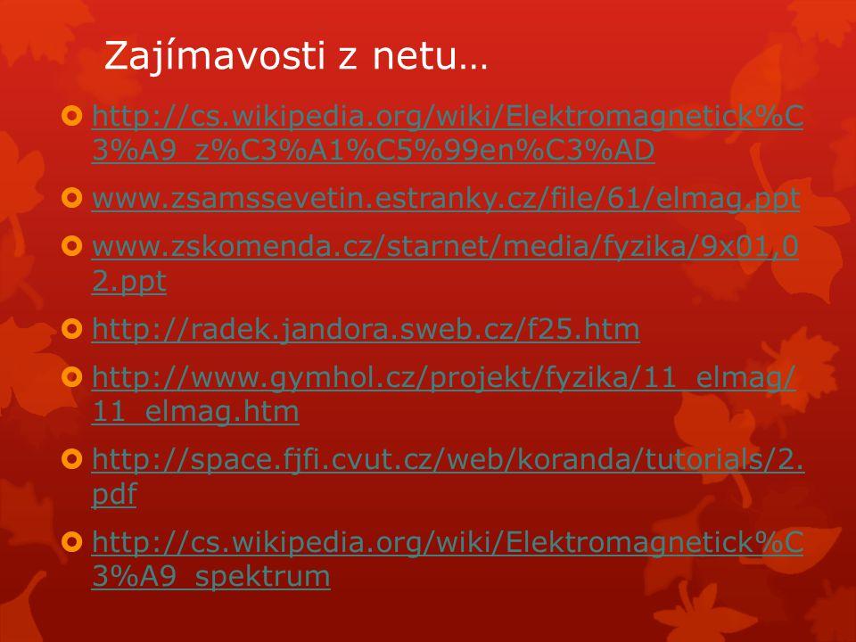 Zajímavosti z netu… http://cs.wikipedia.org/wiki/Elektromagnetick%C 3%A9_z%C3%A1%C5%99en%C3%AD. www.zsamssevetin.estranky.cz/file/61/elmag.ppt.