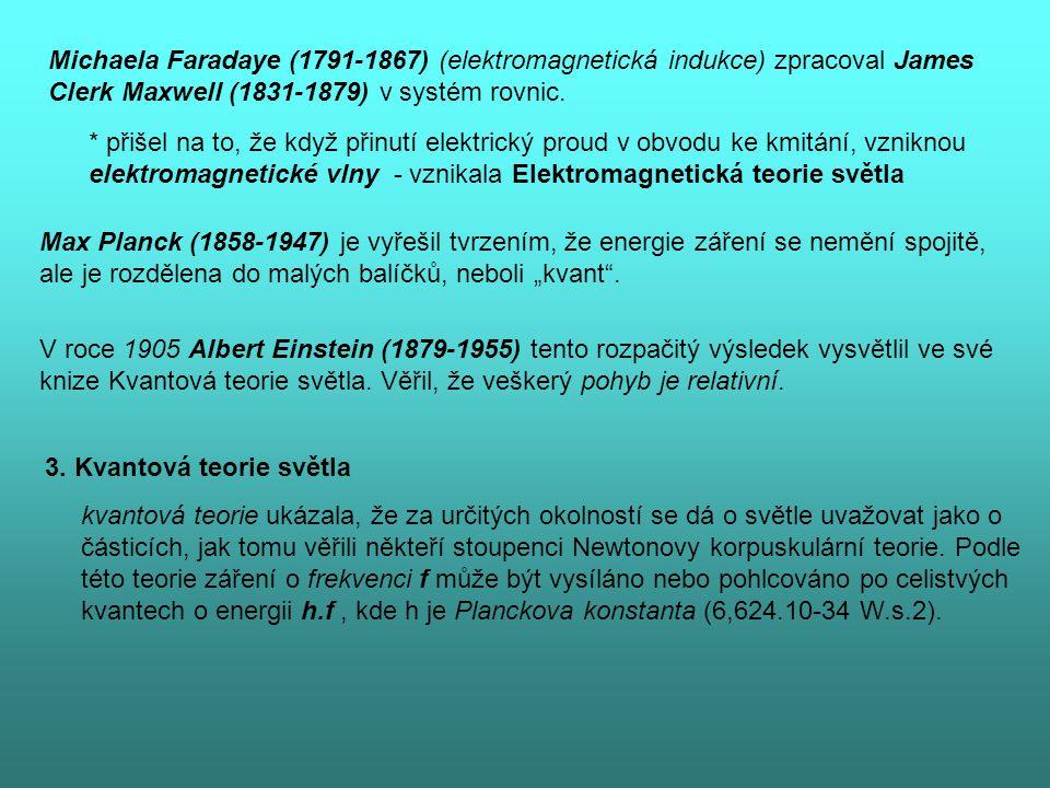 Michaela Faradaye (1791-1867) (elektromagnetická indukce) zpracoval James Clerk Maxwell (1831-1879) v systém rovnic.