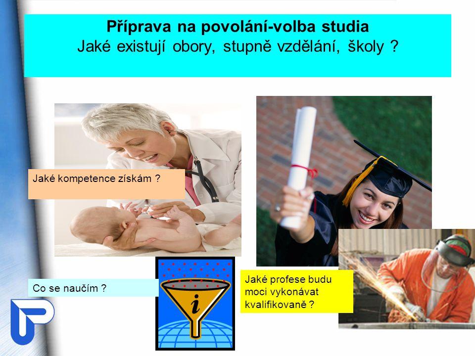 Příprava na povolání-volba studia Jaké existují obory, stupně vzdělání, školy