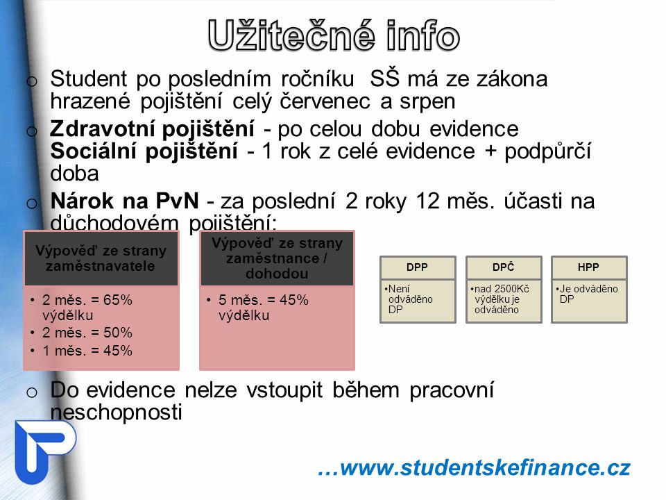 Užitečné info Student po posledním ročníku SŠ má ze zákona hrazené pojištění celý červenec a srpen.