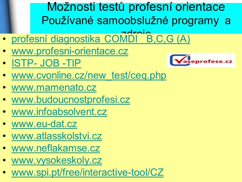 Možnosti testů profesní orientace Používané samoobslužné programy a zdroje