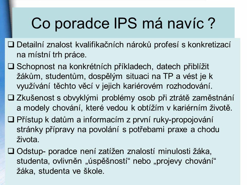 Co poradce IPS má navíc Detailní znalost kvalifikačních nároků profesí s konkretizací na místní trh práce.