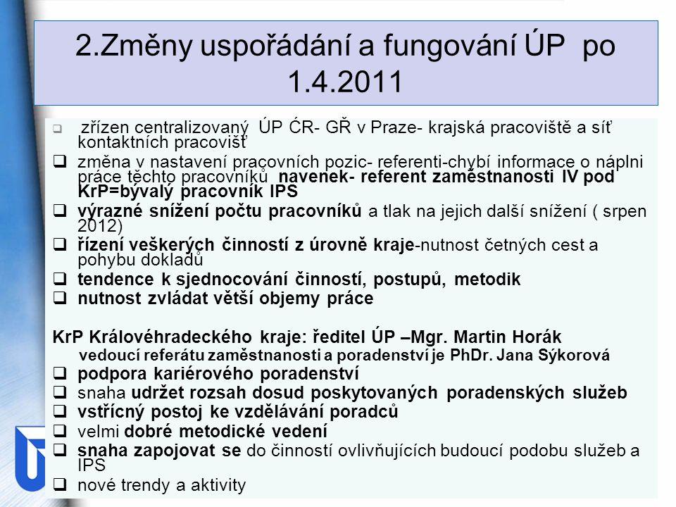 2.Změny uspořádání a fungování ÚP po 1.4.2011